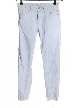 Zara Basic 7/8 Jeans weiß-blau Allover-Druck Casual-Look