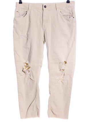 Zara Basic Jeans a 7/8 crema stile casual