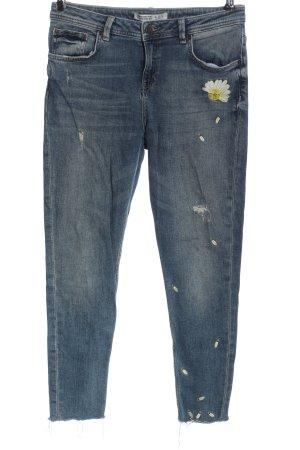 Zara Basic 7/8 Jeans Schriftzug gestickt Casual-Look