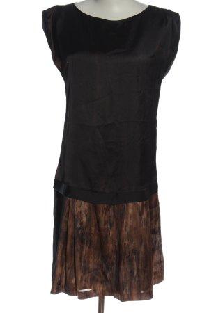 Zara Basic A-Linien Kleid schwarz-braun Casual-Look