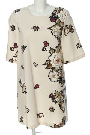 Zara Basic A-Linien Kleid wollweiß Blumenmuster Casual-Look