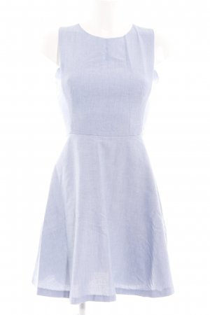 Zara Basic A-Linien Kleid blau-weiß Webmuster Elegant