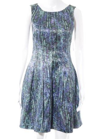 Zara Basic A-Linien Kleid dunkelblau-waldgrün abstraktes Muster Party-Look