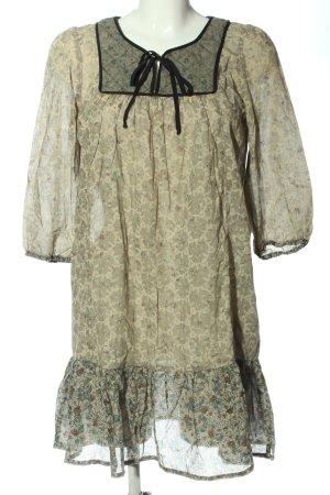 Zara Basic A-Linien Kleid khaki abstraktes Muster Casual-Look