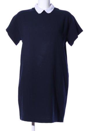 Zara Basic Abito blusa camicia blu-bianco stile professionale