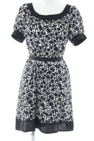 Zara Basic A-Linien Kleid schwarz-weiß abstraktes Muster Business-Look