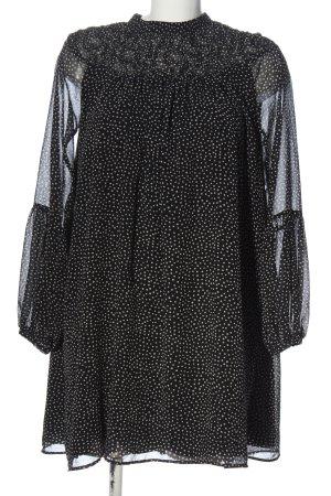 Zara Basic A-Linien Kleid schwarz-weiß Allover-Druck Casual-Look