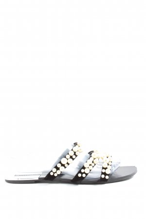 Zara Basic Sandalias con tacón negro-blanco look casual
