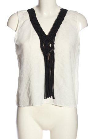 Zara Basic ärmellose Bluse weiß-schwarz Casual-Look