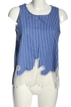 Zara Basic ärmellose Bluse blau-weiß Webmuster Casual-Look