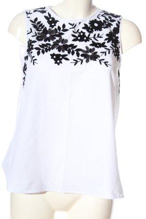 Zara Basic ärmellose Bluse weiß-schwarz Blumenmuster Casual-Look