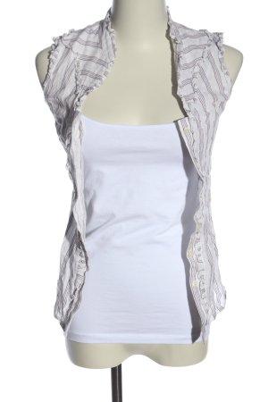 Zara Basic ärmellose Bluse weiß-braun Streifenmuster Casual-Look