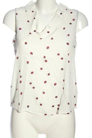 Zara Basic ärmellose Bluse weiß-rot Allover-Druck Casual-Look