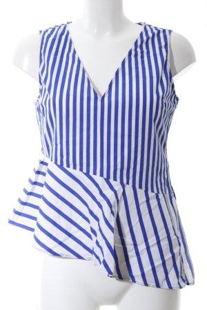 Zara Basic ärmellose Bluse blau-weiß Streifenmuster Casual-Look
