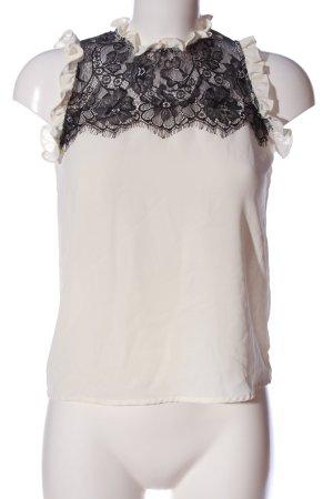 Zara Basic ärmellose Bluse wollweiß-schwarz Casual-Look