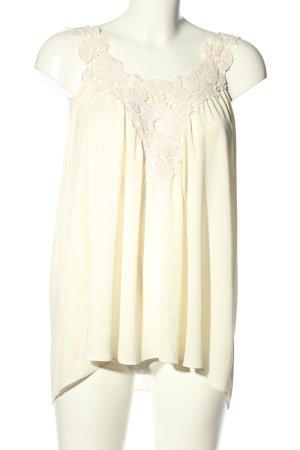 Zara Basic ärmellose Bluse creme Blumenmuster Casual-Look