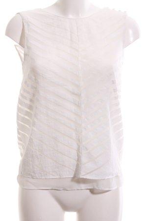 Zara Basic ärmellose Bluse weiß Streifenmuster Business-Look