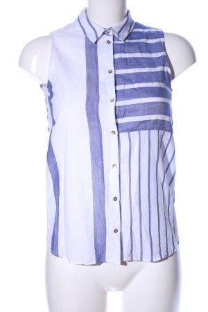Zara Basic ärmellose Bluse weiß-blau Streifenmuster Casual-Look