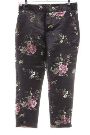 Zara Basic Anzughose schwarz-pink Blumenmuster Casual-Look