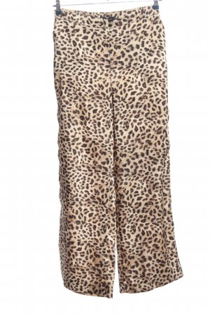 Zara Basic Pantalone largo crema-marrone stampa integrale stile stravagante