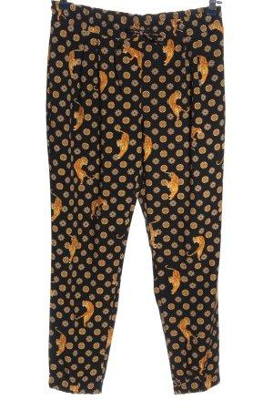 Zara Basic Pantalón abombado negro-naranja claro estampado gráfico elegante