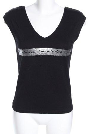 Zara Basic Basic Top schwarz-silberfarben Schriftzug gedruckt Casual-Look