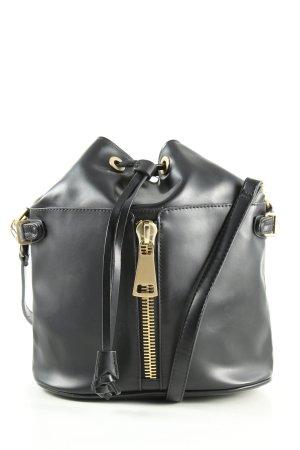 Zara Basic Beuteltasche schwarz-goldfarben Casual-Look