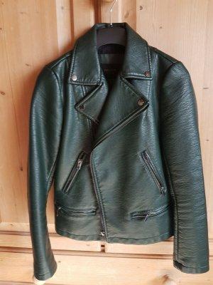 Zara Basic Veste motard vert foncé faux cuir
