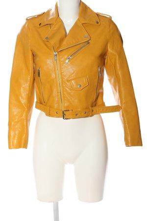 Zara Basic Kurtka typu biker bladożółty W stylu casual