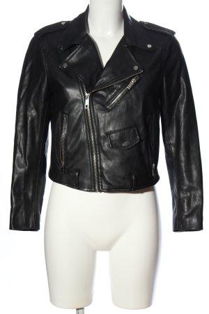 Zara Basic Veste motard noir style décontracté