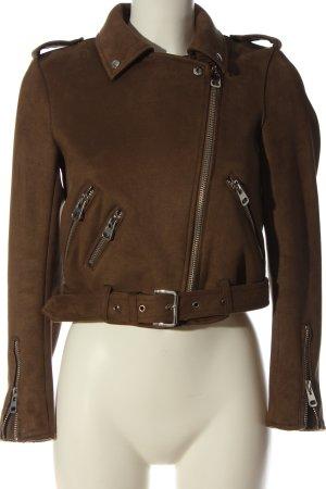 Zara Basic Giacca da motociclista marrone stile casual
