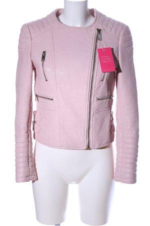 Zara Basic Bikerjacke pink Steppmuster Casual-Look