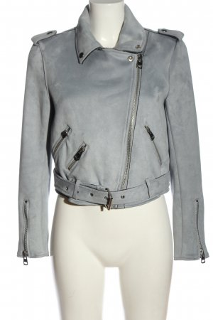 Zara Basic Bikerjacke hellgrau Casual-Look