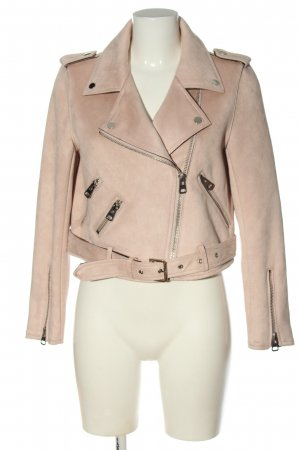 Zara Basic Giacca da motociclista crema stile casual
