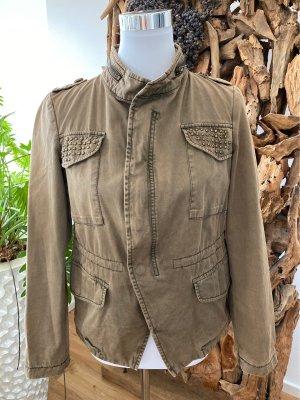 ZARA BASIC Bikerjacke Jacke Denim Vintage Used Military Nieten Gr.M