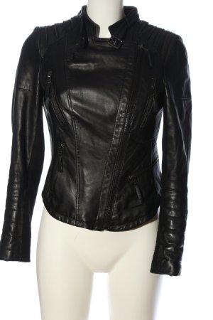Zara Basic Bikerjack zwart casual uitstraling