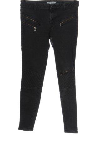 Zara Basic Jeans de moto noir motif rayé style décontracté