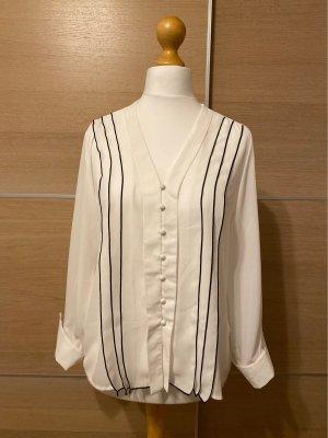 Zara Basic Blusa de manga larga blanco-negro