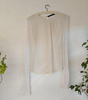 Zara Basic Bluse mit Spitzenärmeln Größe S