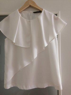Zara Basic Bluzka z falbankami w kolorze białej wełny