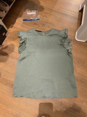 Zara Basic Ruche blouse grijs-groen-lichtblauw