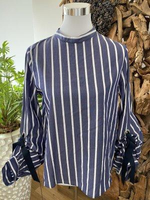 ZARA BASIC Bluse Tunika edel Streifen Schleife mit gerafften Ärmeln