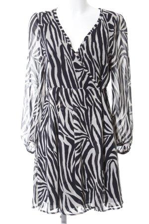 Zara Basic Wikkeljurk zwart-wit dierenprint casual uitstraling