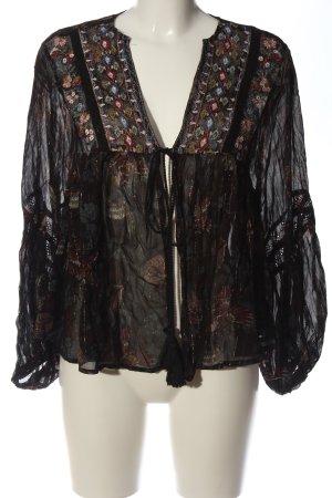 Zara Basic Blouse Jacket black-red flower pattern casual look