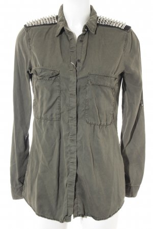 Zara Basic Blusenjacke khaki-schwarz Casual-Look