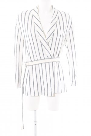 Zara Basic Veste chemisier blanc-bleu foncé motif rayé
