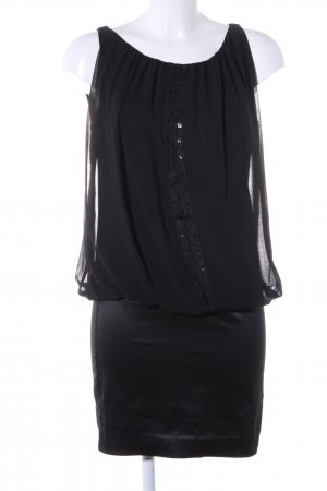 Zara Basic Blusenkleid schwarz Glanz-Optik