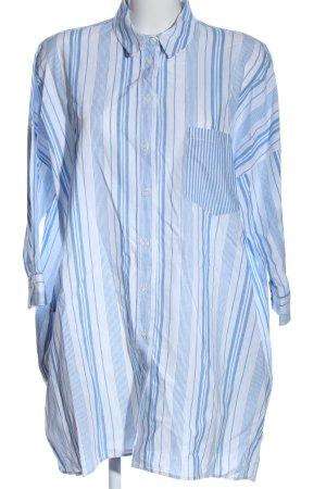 Zara Basic Blusenkleid blau-weiß Allover-Druck Business-Look