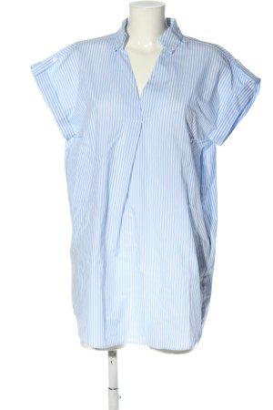 Zara Basic Sukienka koszulowa niebieski-biały Wzór w paski W stylu casual
