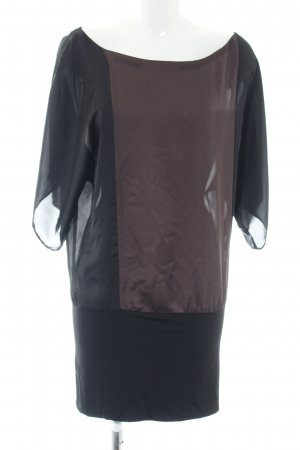 Zara Basic Blusenkleid schwarz-braun Elegant